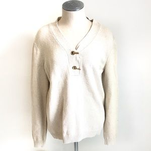 Charter Club Clasp Front Gold Glitter Sweater